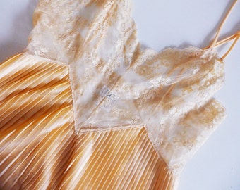 VINTAGE pleated peach lace maxi slip dress