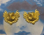 Small Feathered Owl Head Stampings Raw Brass With or Without holes 436RAW x2