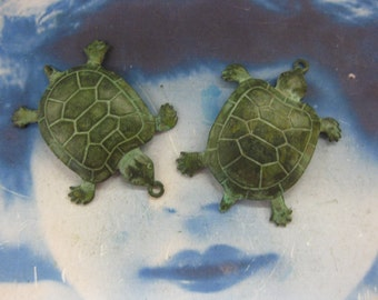 Verdigris Patina Brass Sea Turtle Stamping Charms 107VER x2