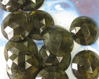 Vintage 30mm Smokey Glass Faceted Cabochon 2282SMOKE x2