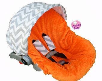 Infant Car Seat Cover, Baby Car Seat Cover Infant Car Seat Cover- GreyChevron with Orange Minky