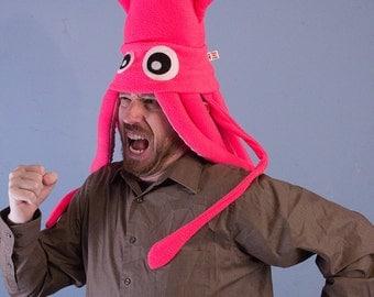 Neon Pink Large Plush Squid Hat