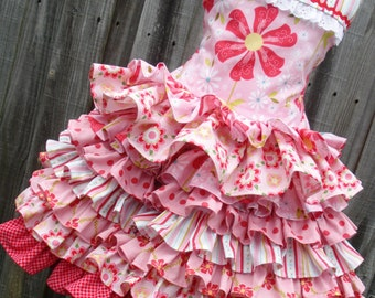 Ready to Ship Custom Boutique Sweet Divinity Pink Red 2 Piece Set Ruffle Girl size 4 or 5
