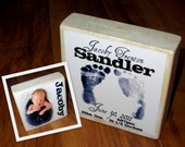 BIRTH Announcement with footprints- Large Block- per block price two-sided