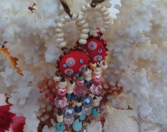 Lilygrace Scarlet Silk, Pink, Ivory and Duckegg Long Earrings with Vintage Rhinestones, Vintage Pearls and Glass beads
