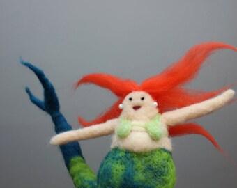 Needle felted chubby mermaid - redhead - bathroom decoration