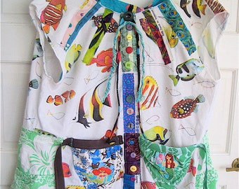 TROPICAL FISH  Altered Upcycled tshirt Wearable Collage Clothing  Folk Art // mybonny random scraps of fabric cannon beach
