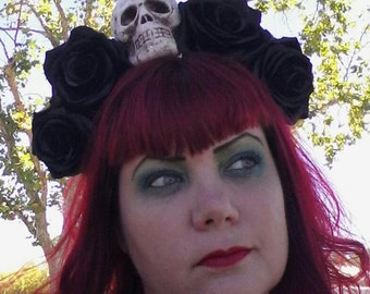 Flower crown, day of the dead, rose crown, skull, skull crown, Halloween, Day of the dead crown, floral crown
