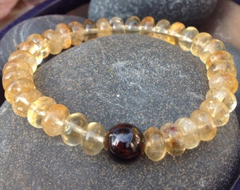 Citrine Bracelet with Garnet Guru Bead - Manifestation and Creativity Bracelet
