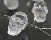 faceted quartz crystal skull bead, clear quartz skull pendant bead, natural crystal stone skull Halloween goth tribal jewelry supplies SALE