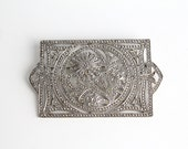 vintage sterling silver marcasite brooch  |  large art deco silver pin