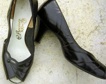 Vintage 50s Peep Toe High Heels - Black Modest Sweet US 8 M / Euro 38