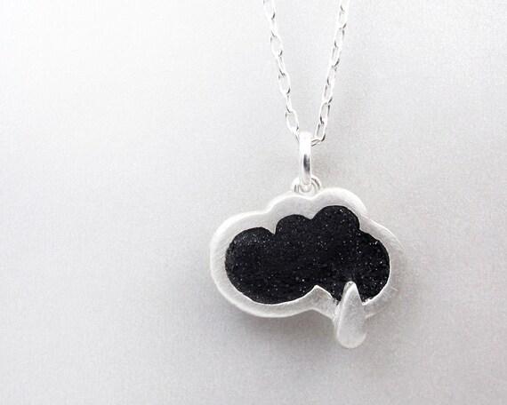 Rain cloud necklace,  concrete jewelry, silver, cloud jewelry