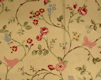 Tiny Flowers Vine Bird Butterfly Maxwell Designer FABRIC SAMPLE Pink Blue Gray Summer Day