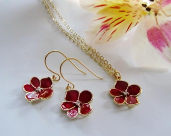 Flower Necklace, Ruby Red, Earring Necklace Set, Lotus Flower, Enamel Charm, Valentines Day, Bridesmaid Jewelry, Gardendiva