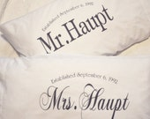 QUEEN/STANDARD SIZE Mr and Mrs pillow case, couples pillow case, personalized anniversary or wedding gift
