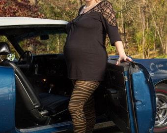 Zebra print maternity leggings_Khaki