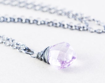 Amethyst Pendant Necklace, Oxidized Sterling Necklace, February Birthstone