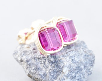 Hot Pink Studs, Bright Pink Cube Posts, Swarovski Square Crystal Post Earrings