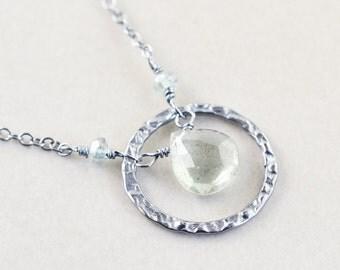 Moss Aquamarine Necklace, Gemstone Necklace, Circle Necklace, March Birthstone