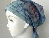 Batik Chemo Cancer Hair Loss Scarf Turban Hat Bad Hair Day Head Cover Light Teal & Purple