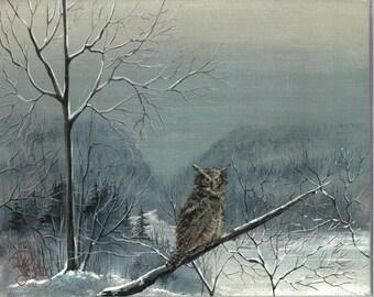 Watcher of the Gap  8x10 wildlife owl print Jim Smeltz