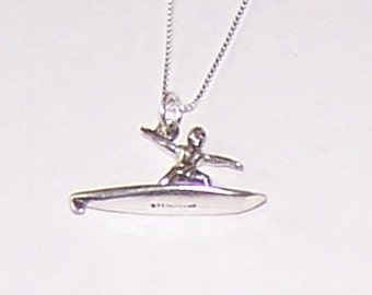 Sterling 3D SURFER Pendant with Chain - Watersports