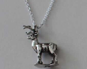 Sterling 3D STAG Pendant with 22 Inch Chain  - Wildlife, Totem, Deer