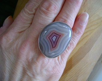 Full Pattern Laguna Agate Cocktail Ring - Size 8.5