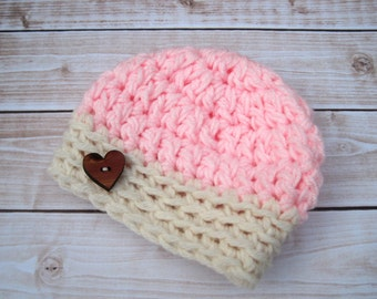 Hat for Baby Girls, Crochet Girl Hat, Crochet Baby Hat, Newborn Girl Hat, Infant Girl Hat, Baby Crochet Hat, Baby Beanie, Pink Baby Hat