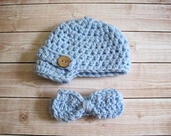 Crochet Baby Hat, Baby Boy Hat, Newborn Hat, Infant Hat, Baby Photo Prop, Baby Newsboy Hat, Baby Bowtie, Baby Bow Tie, Little Man Bow Tie