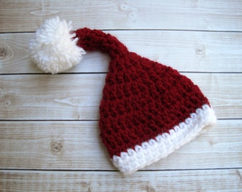 Baby Santa Hat, Baby Christmas Hat, Newborn Santa Hat, Infant Santa Hat, Baby Elf Hat, Christmas Elf Hat, Baby Santa Cap, Red Santa Hat
