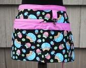 Vendor Apron Black Owls Pink Polka Dots Server Apron Teacher Apron Craft Apron Zippered Apron