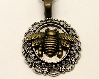 Steampunk bee necklace pendant.