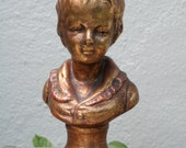 Gold boy bust children boys head, boy statue, library decor