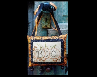 Halloween BOO embroidery pumpkin Pattern PDF - primitive pillow stitchery tuck seam binding hand beads door knob hanger