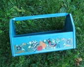Vintage Blue Metal Garden Tote with folk art decal