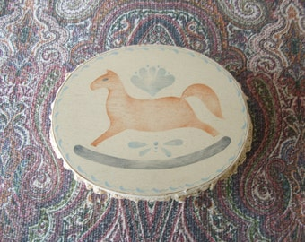 Vintage Painted Wood Oval Box Rocking Horse Stencil with Lace ~~~ Folk Art