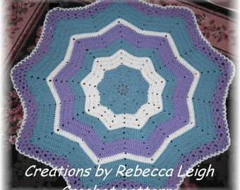 """Baby Crochet Pattern for""""Adelina Rose""""  Ripple Circular Baby Afghan"""