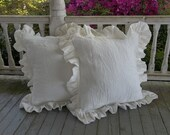 Pair Ruffled Linen Pillows Custom Sizes Ruffled Pillow Shams Decorative Pillows Washed Linen Bedroom Pillow Covers Sold as Single or Pair