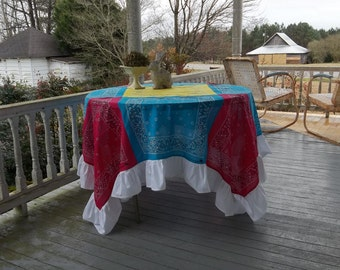 """READY to SHIP Ruffled Tablecloth Pink Turquoise Tablecloth Easter Table Decor Birthday Party Cottage Chic Country Western Wedding 76"""" x 76"""""""