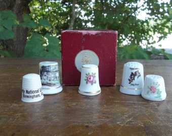 5 Vintage Thimbles Bone China English Thimple Liberty National Celluloid Souvenir Sewing Tools French Country Farmhouse Sewing Collection