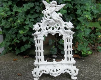 Vintage  Frame Cast Iron Picture Frame Oval Photo Frame Cherubs Cottage Chic French Country White Cast Iron Mirror Vanity Mirror Victorian