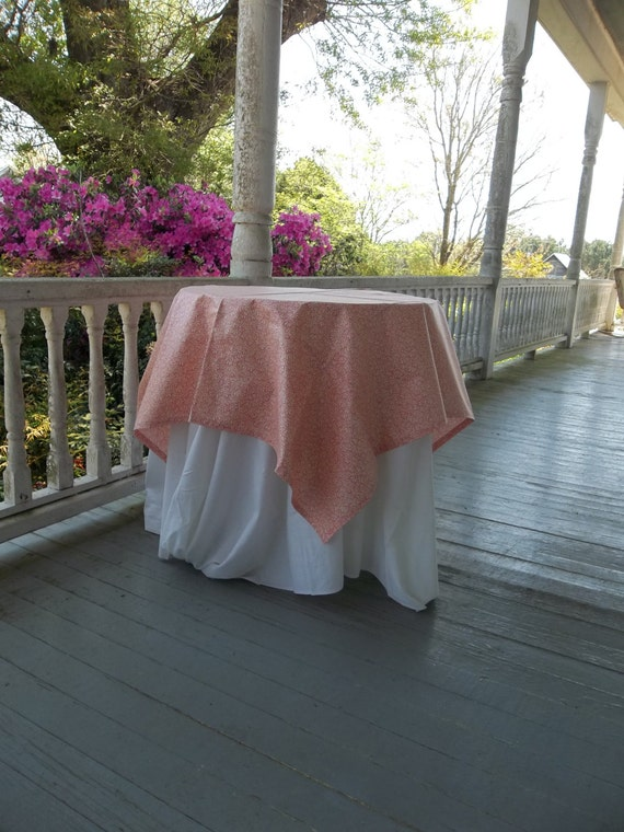 Vintage Tablecloth Pink Floral Toppers 42