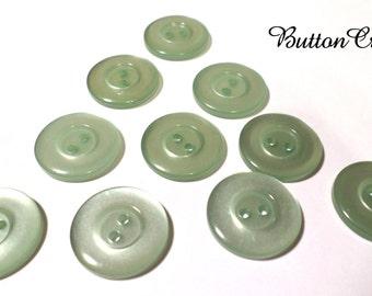 10 Light Green Vintage Buttons