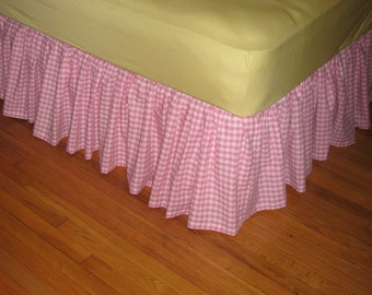 Ruffled GINGHAM Bed skirt - Choose Your Size