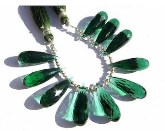 10 Pcs 5 Matched Pair - AAA Teal Green Quartz Faceted Elongated Tear Drop Briolettes Size 25x8mm Approx, High Quality Great Price