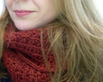 Baby Merino Burgundy Infinity Scarf Texture Stitch