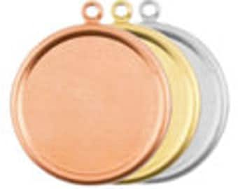 """Circle w/Bevel and Ring BRASS Personalized Jewelry  1 1/4"""" Round 24 Gauge Qty. 4"""