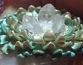 Clear Quartz Triple Point Artichoke Heart Mermaid Flower
